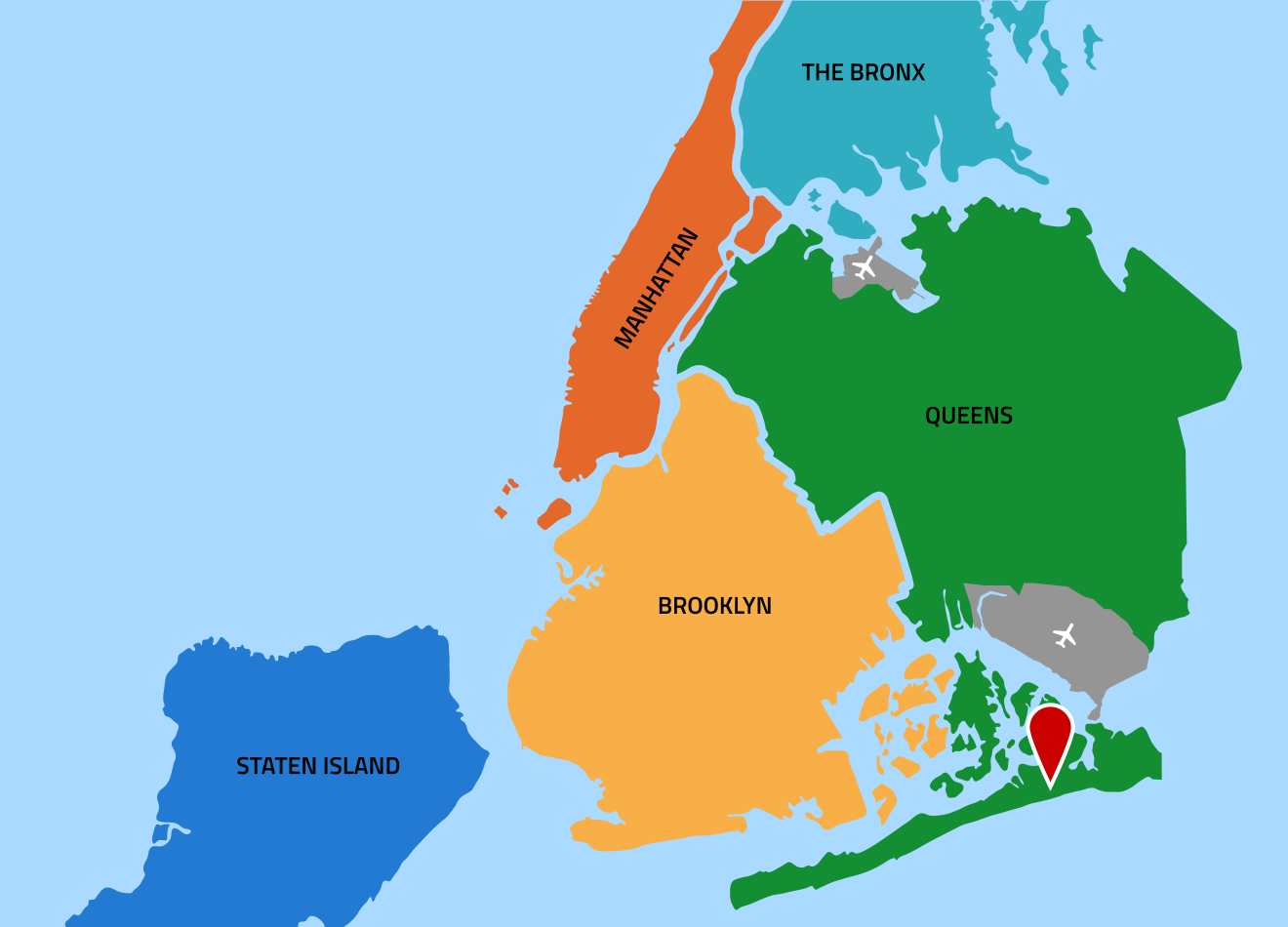 New York City map showing location of Far Rockaway in southest corner of Queens, south of JFK airport