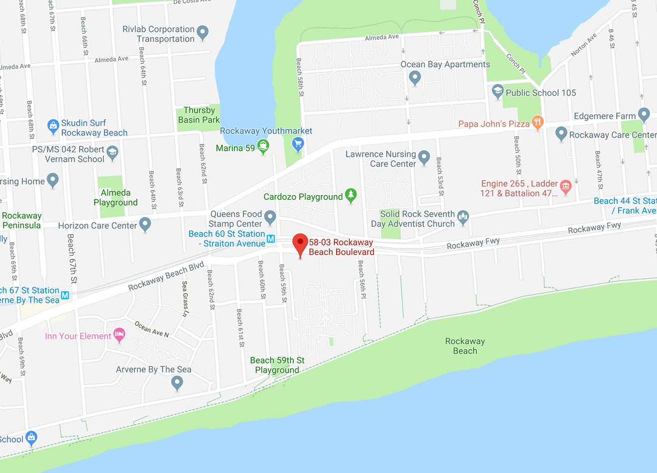 Neighborhood map showing location of 58-03 Rockaway Beach Blvd, across from Beach 60 Street elevated train station